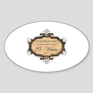 20th Wedding Aniversary (Rustic) Sticker (Oval)